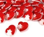 10 Knöpfe Herzen mit Blumen rot
