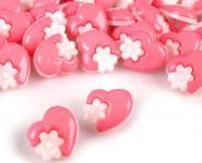 10 Knöpfe Herzen mit Blumen rosa