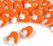 10 Knöpfe Herzen mit Blumen orange