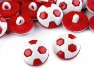 10 Knöpfe Fußball rot