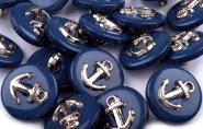 5 Knöpfe Anker blau