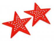 Aufbügler Stern mit Steinen rot