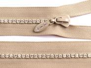 Glitzer-Reißverschluss 16cm beige