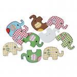 10 Holzknöpfe Elefanten