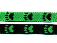 Gurtband 15mm Pfoten lime-schwarz
