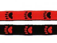 Gurtband 20mm Pfoten rot-schwarz