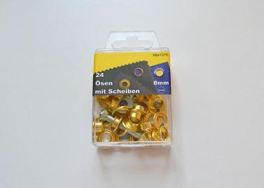 24 Ösen 8mm gold