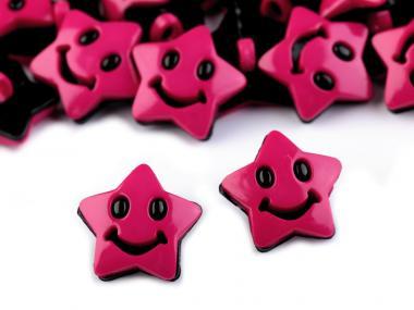 10 Knöpfe Sterne pink-schwarz