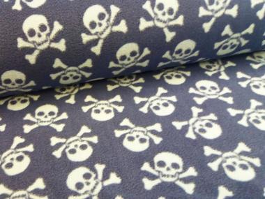 Polarfleece Piraten Totenkopf blau