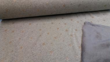 Jerseystoff m. Fleece Sterne grau-blau