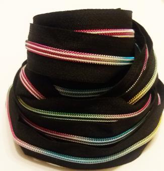 endlos Reißverschluss 5mm regenbogenfarben schwarz