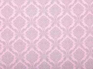 Blumenstoff Ornamente rosa-grau