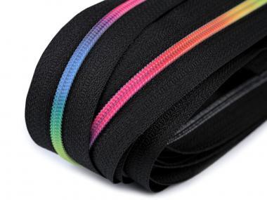 endlos Reißverschluss 3mm neon Regenbogen
