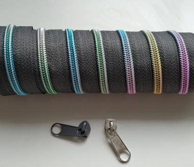 Reißverschluss 5mm bunt Regenbogen grau