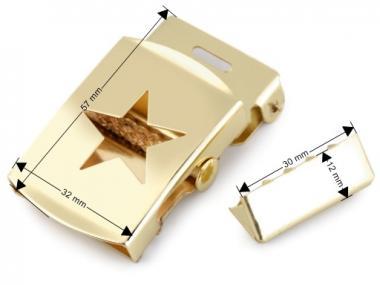 Gürtelschnalle Stern gold 30 mm