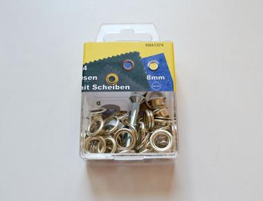 24 Ösen 8mm silber