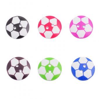 10 Holzknöpfe Fußball Mix