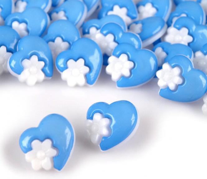 10 Knöpfe Herzen mit Blumen blau