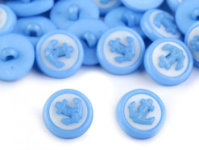 10 Knöpfe Anker blau-weiss