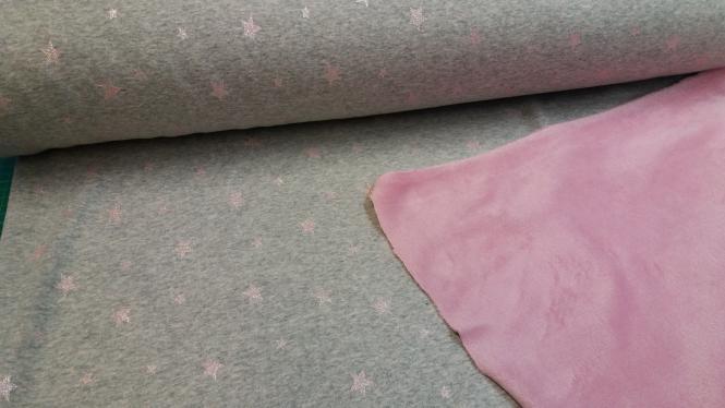 Jerseystoff m. Fleece Sterne grau-rosa