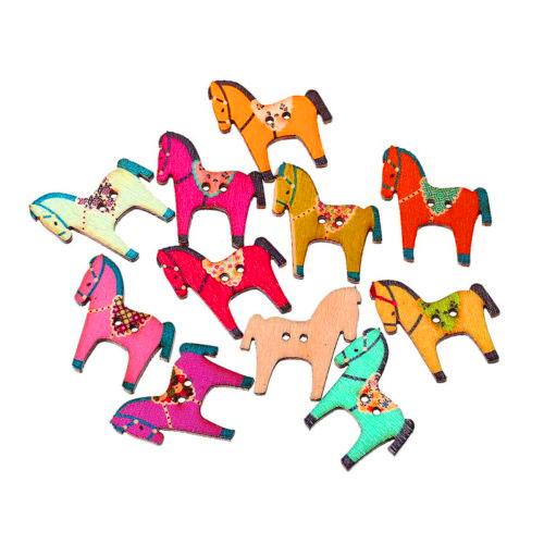10 Holzknöpfe Pferde Mix