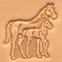3-D Stempelplatte Stute & Fohlen