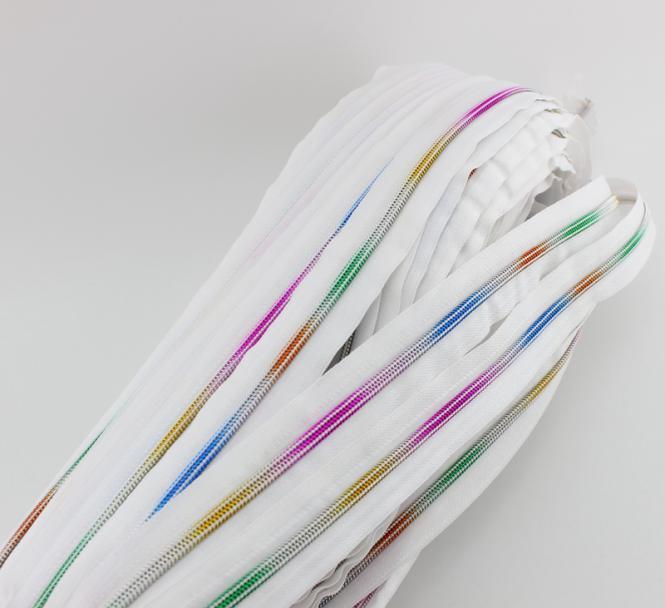 endlos Reißverschluss 5mm regenbogen weiß