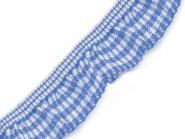 Rüschengummi kariert blau