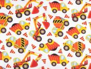 Baumwollstoff mit Kindermotiv Kinderstoff Baustelle Bagger orange