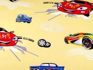 Baumwollstoff mit Kindermotiv Kinderstoff Car Auto gelb