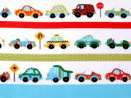 Baumwollstoff mit Kindermotiv Kinderstoff Car Auto weiß