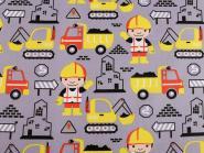Baumwollstoff mit Kindermotiv Kinderstoff Baustelle gelb grau