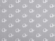 Baumwollstoff mit kleinen Elefanten grau-weiß
