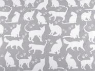 Baumwollstoff Katzen Katzenstoff grau-weiss