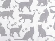 Baumwollstoff Katzen Katzenstoff weiss-grau