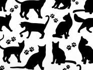 Baumwollstoff Katzen Katzenstoff weiss-schwarz Pfötchen