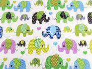 Baumwollstoff Elefanten Elefantenstoff grün