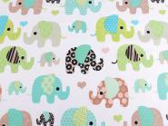 Baumwollstoff Elefanten Elefantenstoff mint-braun