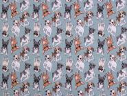 Jerseystoff Dogs hellblau