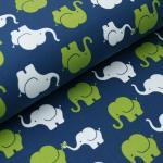 Jerseystoff Elefanten petrol grün