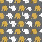 Jerseystoff Elefanten grau senf