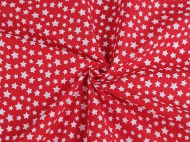 Baumwollstoff mit Sternen rot-weiss