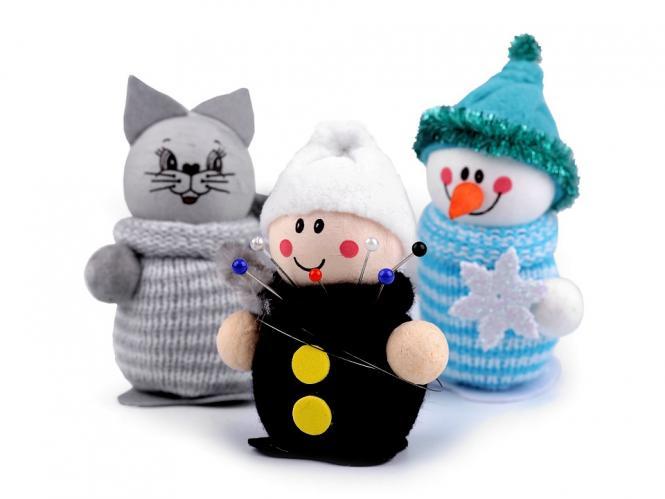 Nadelkissen Schneemann, Schornsteinfeger, Katze